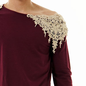 boat neck lace T-shirt